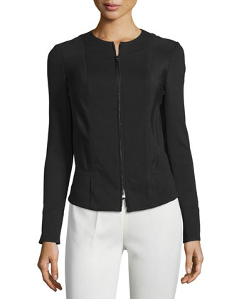Long-Sleeve Zip-Front Jacket, Black