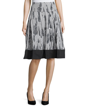 Printed Box-Pleat Skirt, Ivory/Black