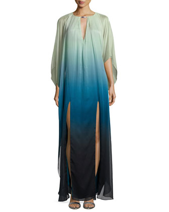 Long-Sleeve Ombre Caftan Gown, Atlantic