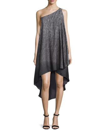 One-Shoulder High-Low Gown, Gray