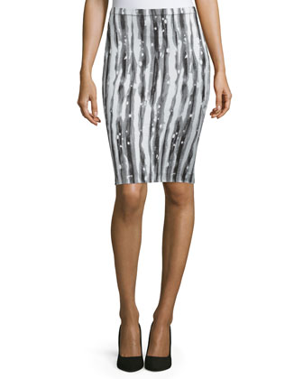 Two-Tone Pencil Skirt, Black/Multi