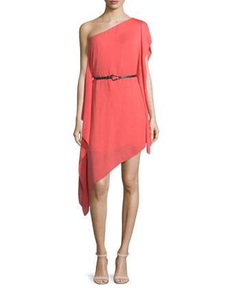One-Shoulder Belted Asymmetric Dress, Melon