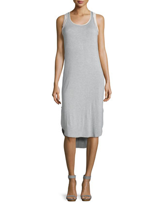 Scoop-Neck Tank Dress, Heather Gray/Nude Blush