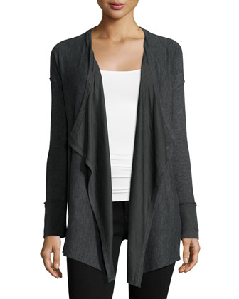 Alcove Open-Front Cardigan Sweater, Charcoal