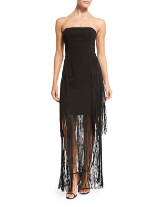 Strapless Column Gown with Fringe