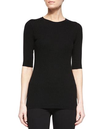 Slim-Fit Ribbed Crewneck Sweater, Cerulean