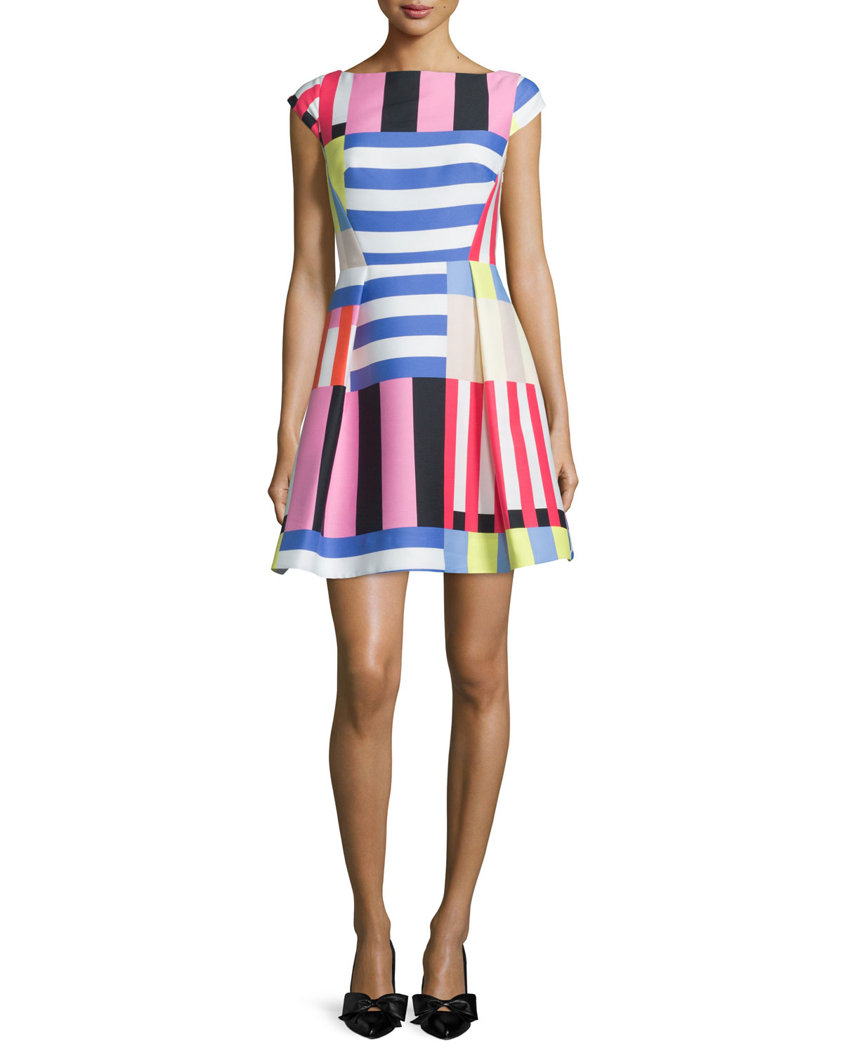 multi-striped fit-&-flare dress, Women's, Size: 0, Rich Navy Multi - kate spade new york