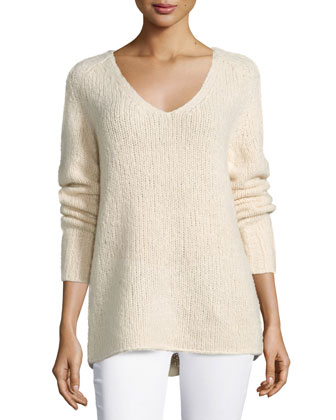 V-Neck Cashmere-Blend Sweater, Parchment