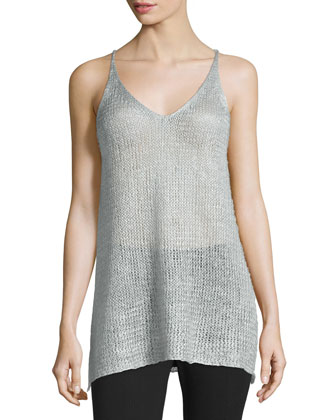 Easy Sleeveless V-Neck Tunic, Platinum