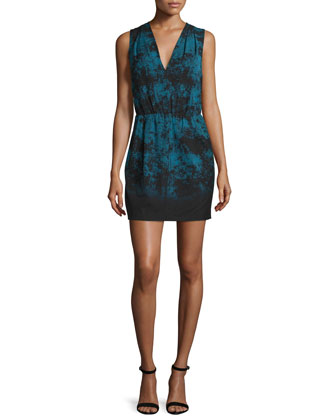 Sleeveless V-Neck Sheath Dress, Atlantic