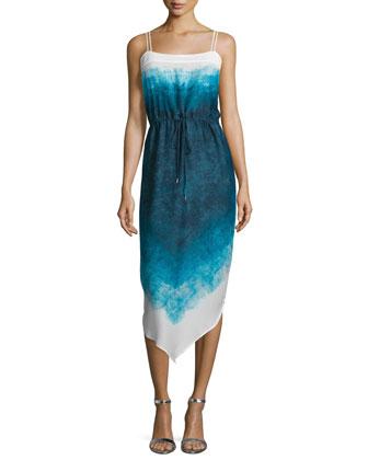 Sleeveless Ombre Drawstring-Waist Dress, Atlantic