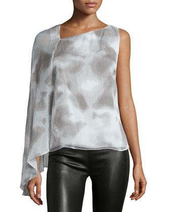 Draped-Sleeve Asymmetric-Neck Top, Mist/White