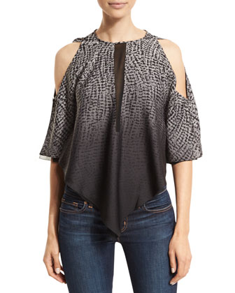 Jewel-Neck Cold-Shoulder Top, Gray Wave Ombre