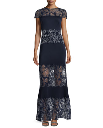 Cap-Sleeve Lace-Paneled Gown