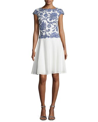 Cap-Sleeve Floral-Lace Fit & Flare Cocktail Dress