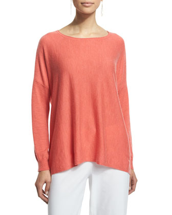 Long-Sleeve Featherweight Cashmere Box Top, Flora