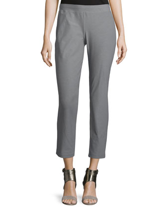 Washable-Crepe Straight-Leg Pants, Smoke, Petite