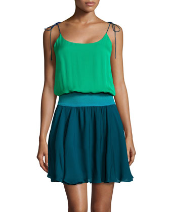 Tie-Shoulder Colorblock Silk Dress, Grass/Teal/Dark Teal