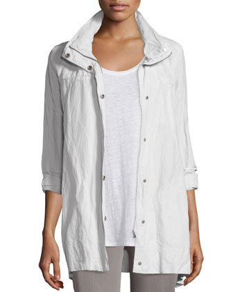 Rumpled Hooded Jacket, Bone, Petite