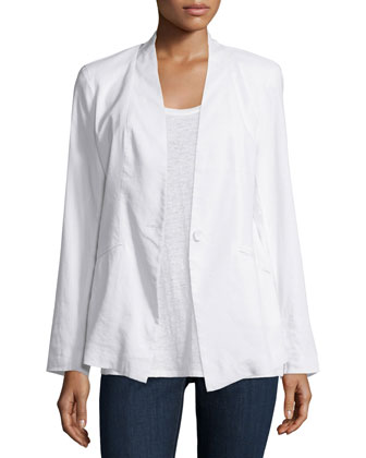 Angled Front Linen-Stretch Jacket, Women's