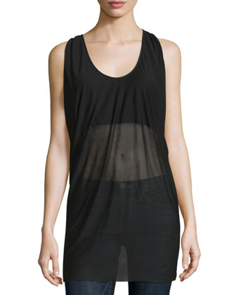 Scoop-Neck Double Tank, Black