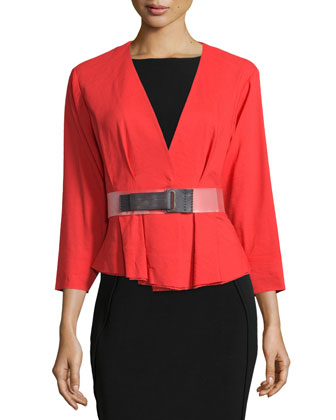 3/4-Sleeve Belted Jacket, Flame Red