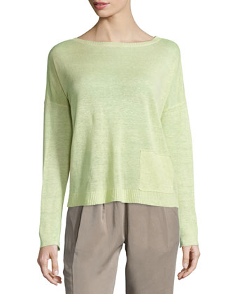 Classic Long-Sleeve Lightweight Box Top, Petite