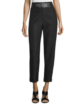 High-Waist Belted Cropped Pants, Black