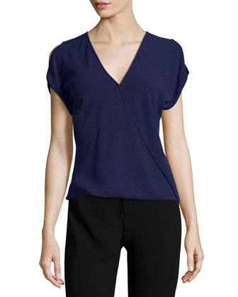 Short-Sleeve Wrap Top, Aubergine