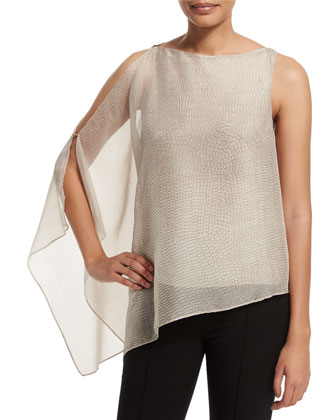 Asymmetric Draped Top, Dark Bone