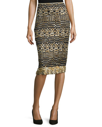 Mid-Rise Tweed Pencil Skirt, Black/Gold