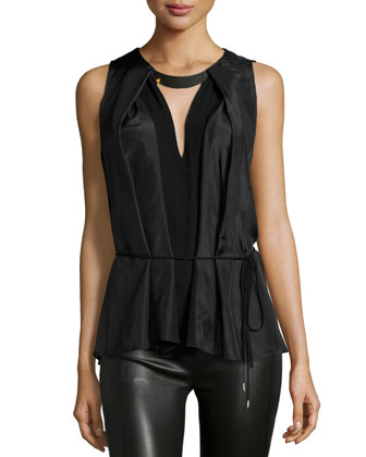 Sleeveless Pleated Top W/Tie, Black/Charcoal