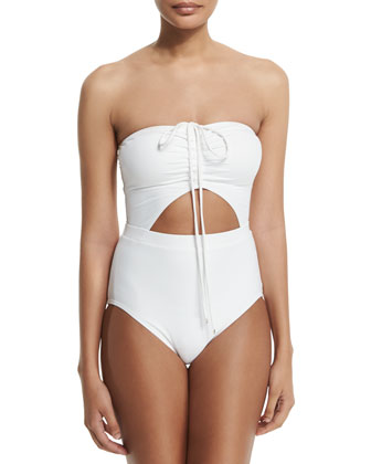Halter-Neck Solid One-Piece Swimsuit
