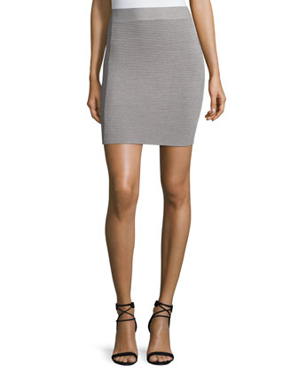 Ottoman-Stitch Pencil Skirt, Heather Gray