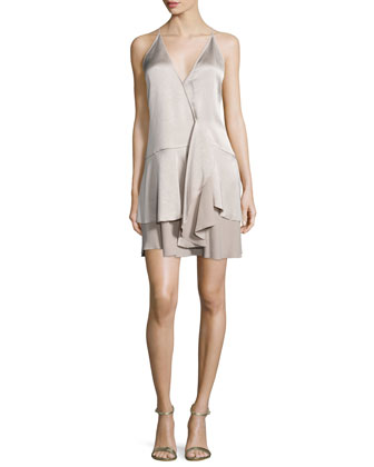 Sleeveless Faux-Wrap Layered Dress, Stone