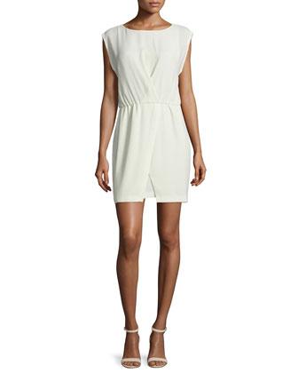 Cap-Sleeve Faux-Wrap Dress, Pistachio