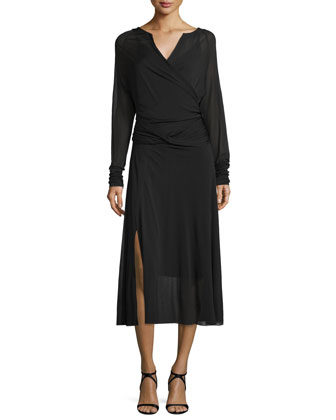 Long-Sleeve Crossover Midi Dress, Black