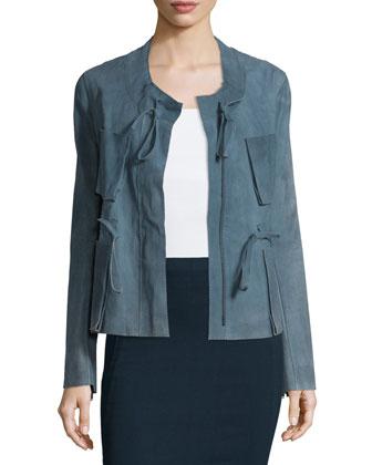 Zip-Front Drawstring Suede Jacket, Faded Indigo