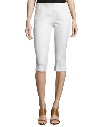 Mid-Rise Capri Pants, White