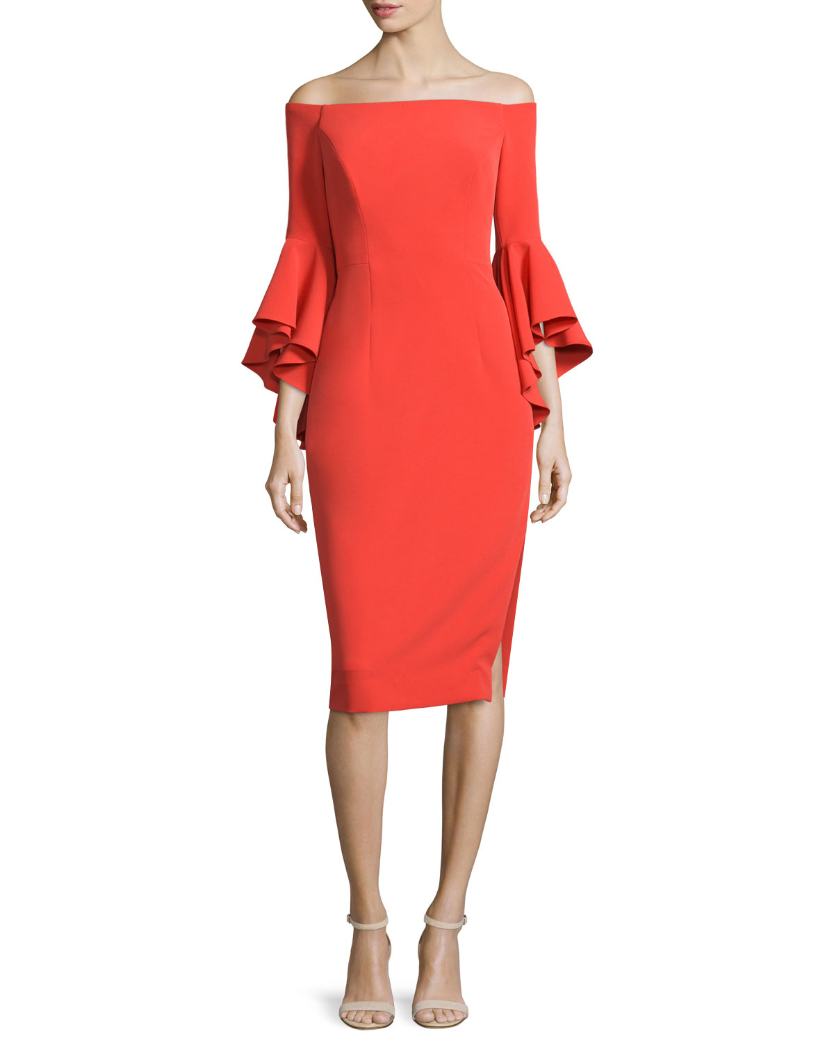 Selena Off-The-Shoulder Sheath Dress, Flame, Size: 0 - Milly