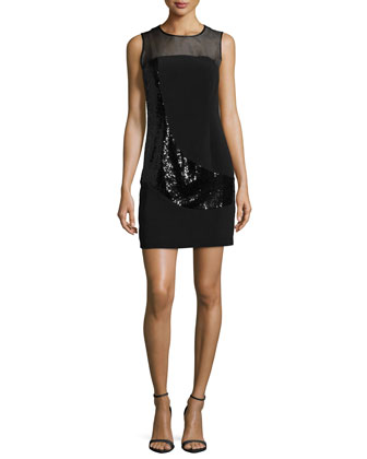 Sleeveless Jewel-Neck Combo Sheath Dress, Black