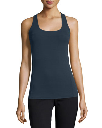 Scoop-Neck Racerback Tank, Deep Indigo