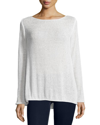 Long-Sleeve Textured Top, Ivory