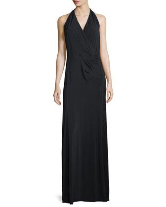 Sleeveless V-Neck Draped Gown, Black