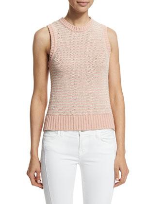 Garey Jewel-Neck Sweater Tank, Rose Cloud