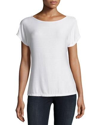 Short-Sleeve Peephole-Back Top, Linen White