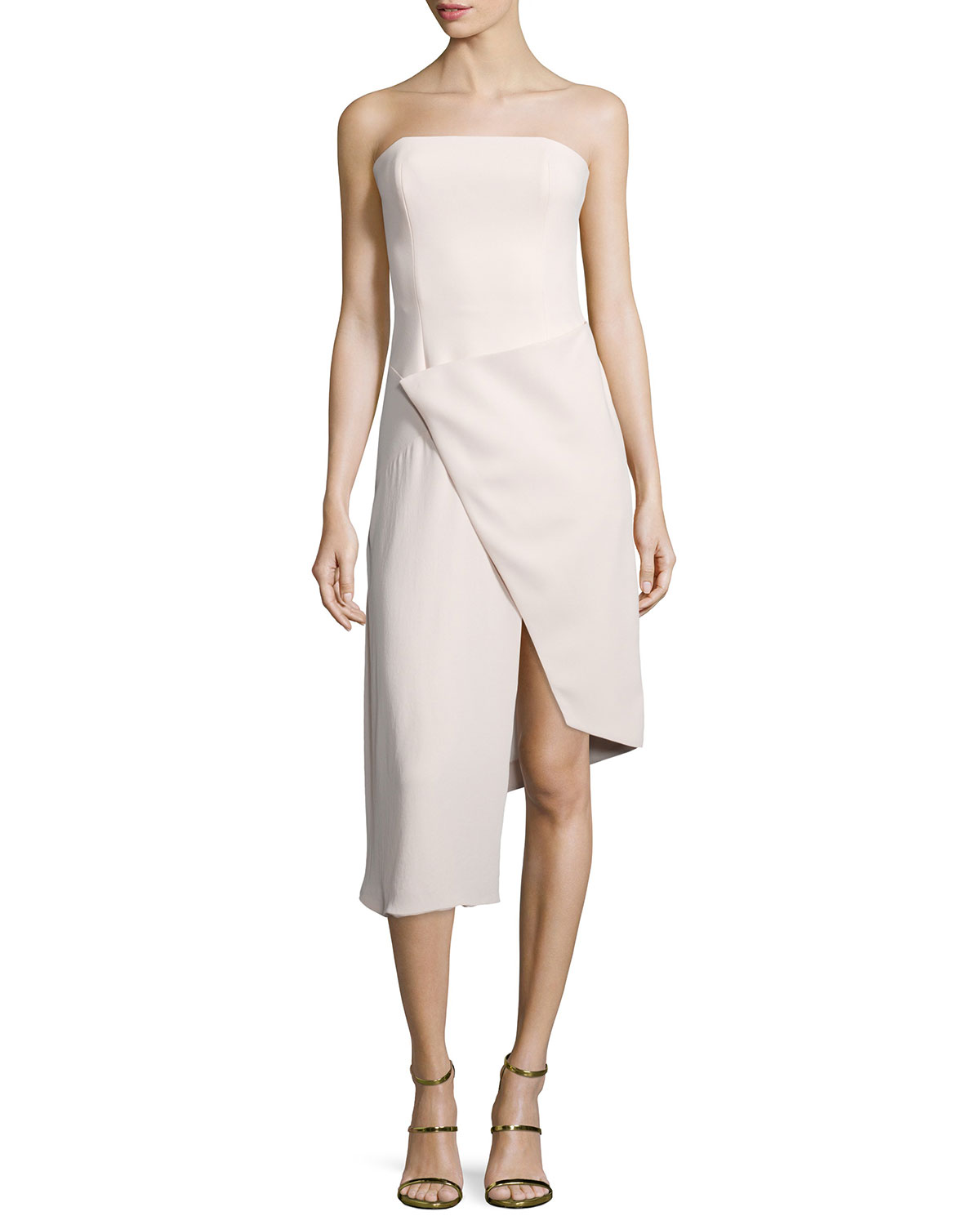 Strapless Front-Wrap Dress, Size: 0, Blush - Nicholas