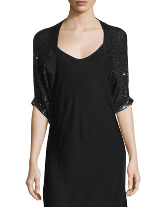 Half-Sleeve Embellished-Cashmere Shrug, Black