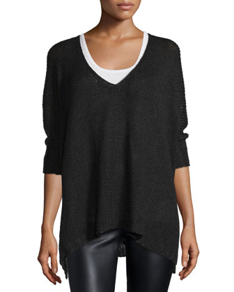 Easy 3/4-Sleeve V-Neck Sweater, Black