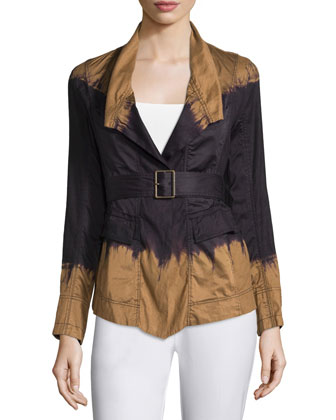 Tie-Dye Belted Jacket, Black/Paper Bag
